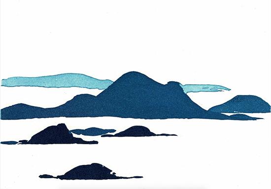 Astrid-de-La-Forest-Îles-I,-2016-Eau-forte-et-aquatinte-en-couleurs-Dimensions-à-la-planche---12,8-x-17,5-cm
